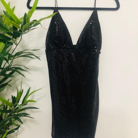 sequent deep V-neck dress